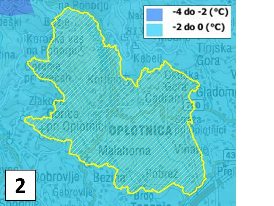 Povprečna januarska temperatura zraka (1971 - 2000)