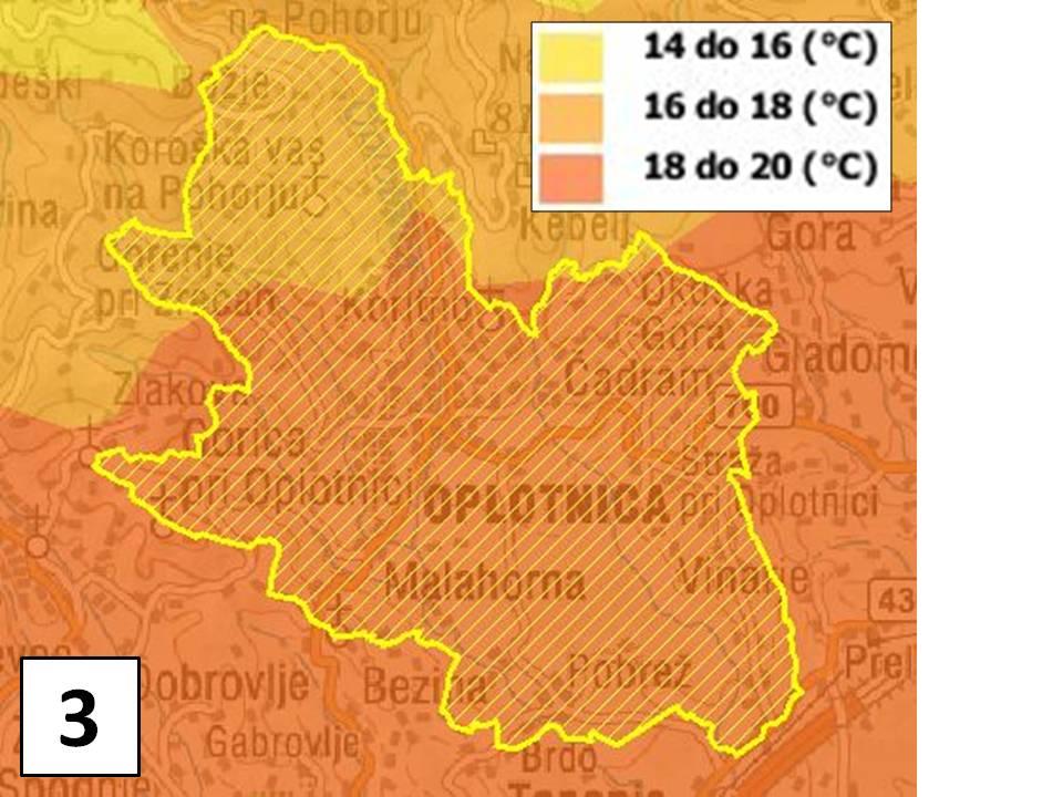 Povprečna julijska temperatura zraka (1971 - 2000)
